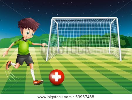 Illustration of a man at the field using the ball with the flag of Switzerland