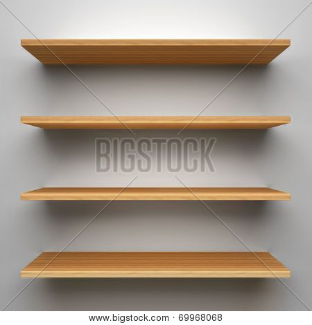 Empty wood shelves on clean soft background.