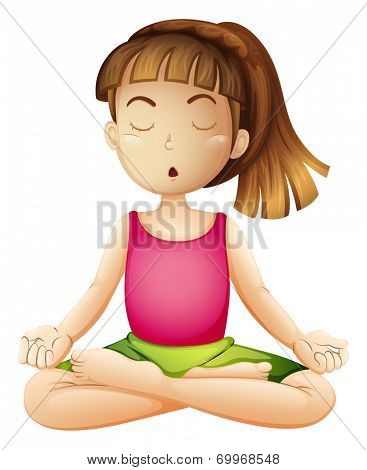 Illustration of a young lady doing yoga alone on a white background