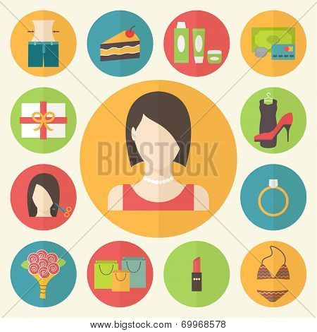 Set of flat design beauty concept icons. Woman needs, shopping preferences and wishes. Vector illust