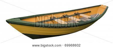 Dory rowboat, isolated