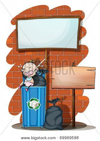 Illustration of the two empty signboards near the trashcan with a baby on a white background