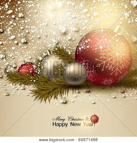 Beautiful Christmas background with red and golden balls.  Golden Xmas baubles and fir branches. Vector
