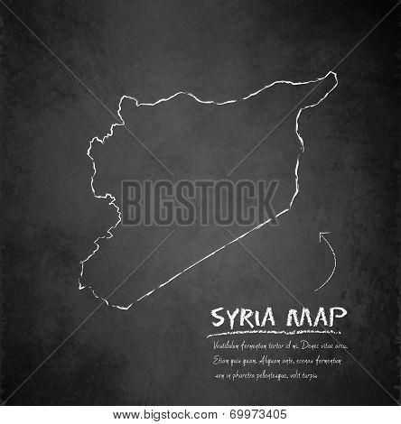 Syria map blackboard chalkboard vector dark
