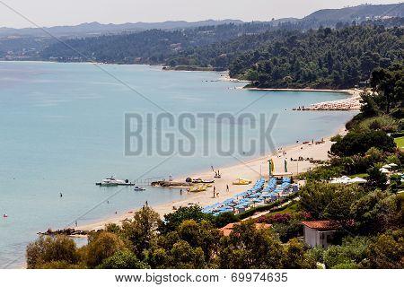 Kallithea Sunny Beach And Summer Resort At Kassandra Of Halkidiki Peninsula In Greece