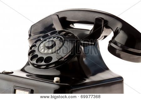 an antique, old landline telephone. phone on white background.