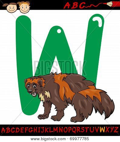 Letter W For Wolverine Cartoon Illustration