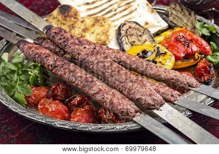 kabab koubideh with grilled vegetables