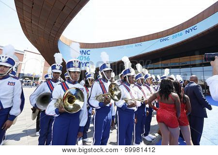 Brooklyn United Marching band lined up