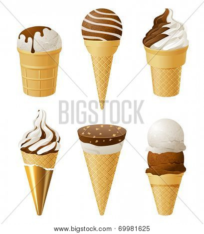 6 ice cream icons over white background