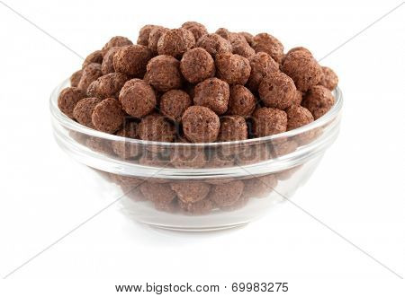 cereal chocolate balls  in bowl  on white background