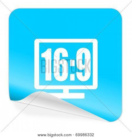 16 9 display blue sticker icon