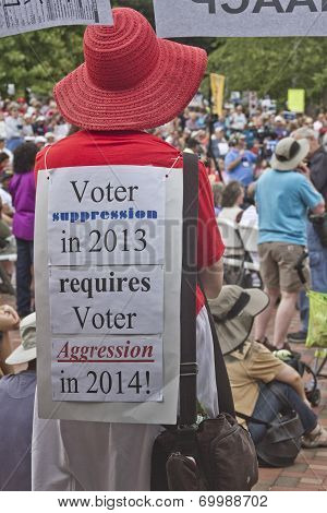 Moral Monday Rally Voting Sign