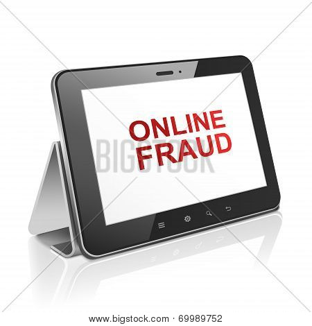 Tablet Computer With Text Online Fraud On Display