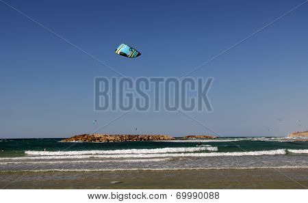Kite Surfing on the Mediterranean Sea in Israel