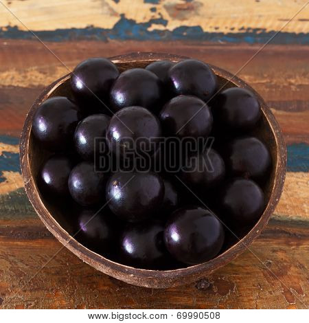 Brazilian Berry Jaboticaba In Bowl On Wooden Table