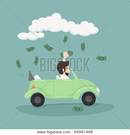 Businessman Driving Car Catching Money