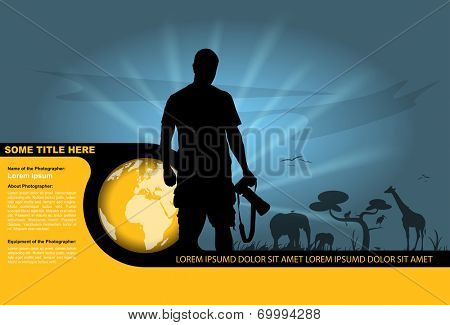 Vector background with silhouette of the photographer and wildlife in the background.