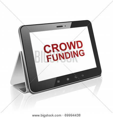 Tablet Computer With Text Crowd Funding On Display