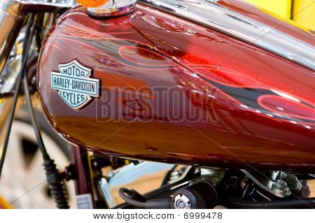 Moscow, Russia - August 28: Label Of Harley Davidson On Petrol Tank Of A Bike At Moscow Internationa
