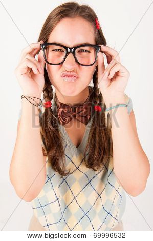 Young Nerdy Cute Girl.