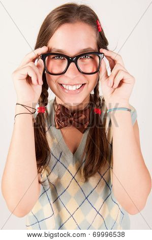 Young Nerdy Cute Girl Smiling.