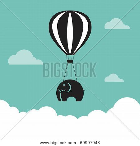 Vector Image Of Elephant With Balloons