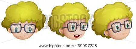 Illustration of the different expressions of a boy on a white background