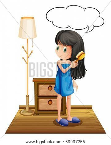 Illustration of a girl combing her hair with an empty callout on a white background