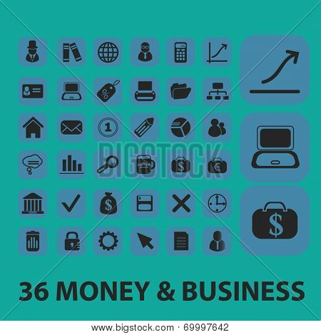 money, business icons, signs, symbols, objects, illustrations set. vector
