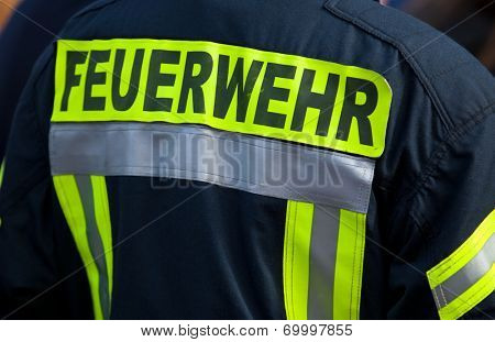 Back of a german firefighter