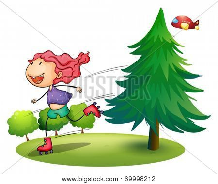 Illustration of a girl rollerskating near the pine tree on a white background