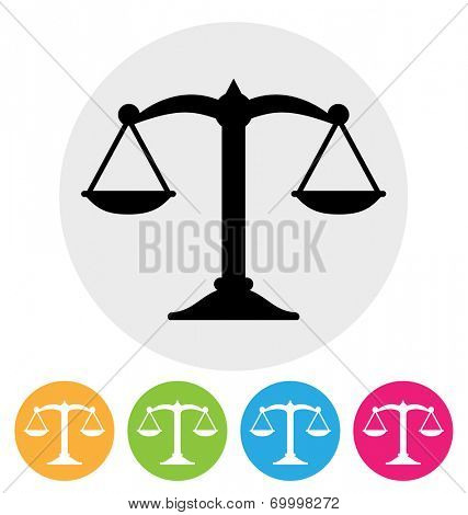 scales of justice icon on white / scale symbol
