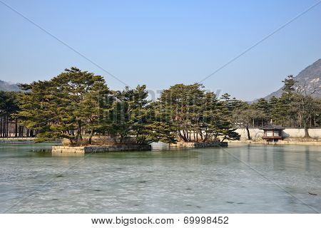 Two Artificial Islands In The Gyeonghoeru Pond, In Gyeongbokgung