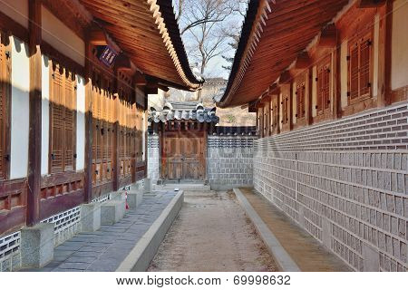 Corridor Between Traditional Architectures In Gyeongbokgung, Korea