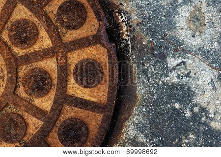 Closeup Of Round Shape Rusty Manhole