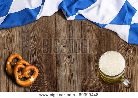 Bavarian Flag As A Background For Oktoberfest