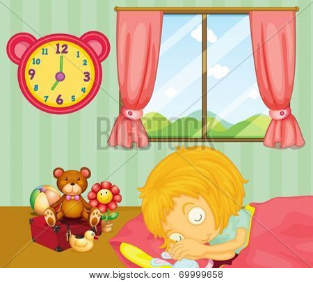 Illustration of a young girl sleeping soundly in her bedroom