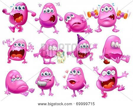 Illustration of a set of monster with different emotions