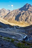 picture of aconcagua  - Paso de los Libertadores Winding Road at 3000 meters between Argentina and Chile.