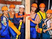 picture of millwright  - Happy group people in builder uniform - JPG
