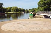 stock photo of avon  - For now hath time made me his numbering clock human sundial alongside the River Avon Stratford - JPG