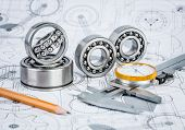 image of ball bearing  - Technical drawings with the Ball bearings - JPG