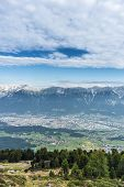 picture of south tyrol  - Inn river valley as seen from mountain and ski area of Patscherkofel in Tyrol region south of Innsbruck in western Austria - JPG