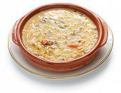 stock photo of dutch oven  - spelt soup - JPG