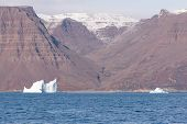 image of arctic landscape  - Arctic landscape in Greenland around Disko Island with high mountain  - JPG