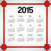 pic of weekdays  - Calendar for 2015 decorated with red bows - JPG