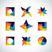 stock photo of swastika  - colorful geometric shapes vector icons of design elements - JPG