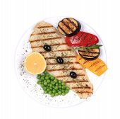 stock photo of pangasius  - Grilled pangasius fillet on plate - JPG
