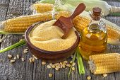 image of ethanol  - Freshly picked domestic corn with grits polenta and corn oil - JPG